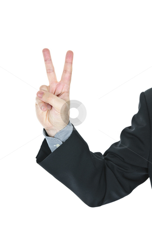 Man giving peace or victory sign stock photo, Business man giving peace or victory hand gesture by Elena Elisseeva