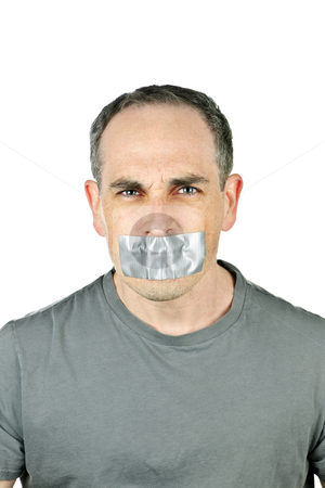 Man with duct tape on mouth stock photo, Portrait of angry man with duct tape over his mouth by Elena Elisseeva