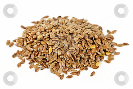 Brown flax seed stock photo, Heap of brown flax seed or linseed isolated on white background by Elena Elisseeva