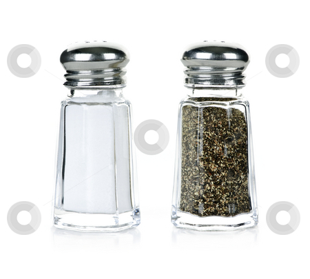 Salt and pepper shakers stock photo, Glass salt and pepper shakers isolated on white background by Elena Elisseeva