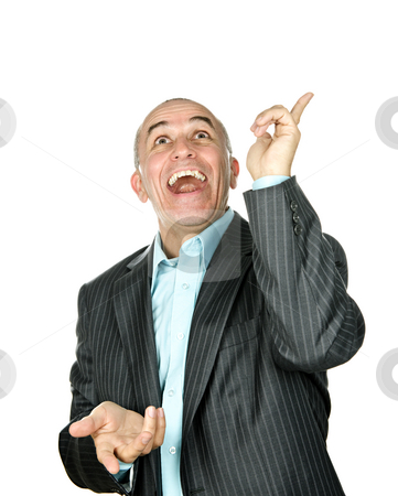Laughing man pointing up stock photo, Portrait of laughing businessman pointing up isolated on white background by Elena Elisseeva