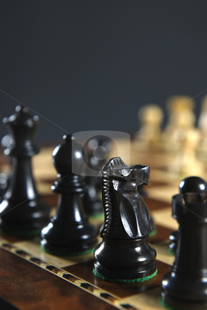Black chess pieces on board stock photo, Close up of black chess pieces on wooden chessboard by Elena Elisseeva