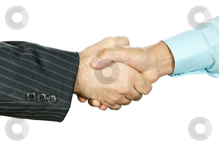 Business handshake stock photo, Closeup of two businessmen shaking hands in agreement by Elena Elisseeva