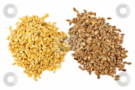 Brown and golden flax seed stock photo, Heaps of brown and golden flax seed or linseed isolated on white background by Elena Elisseeva