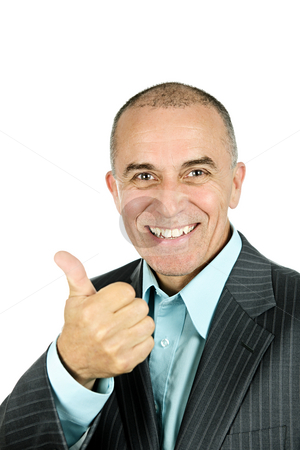 Man giving thumbs-up stock photo, Portrait of smiling businessman giving thumbs-up isolated on white background by Elena Elisseeva
