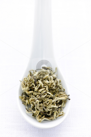 Dry white tea leaves in a spoon stock photo, White dry tea leaves on a spoon by Elena Elisseeva