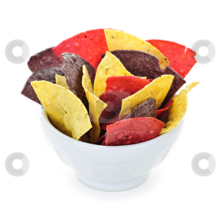 Tortilla chips stock photo, Bowl of colorful tortilla chips isolated on white background by Elena Elisseeva