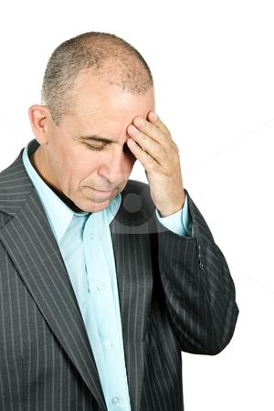 Depressed man on white background stock photo, Portrait of depressed man isolated on white background by Elena Elisseeva