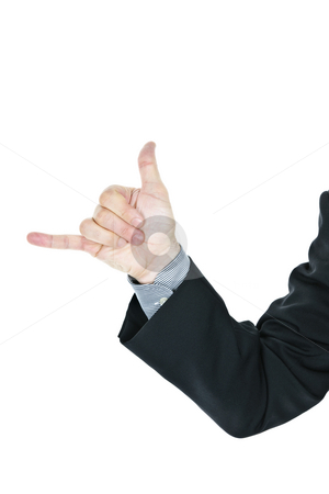 Man giving hang loose hand sign stock photo, Business man giving hang loose hand gesture by Elena Elisseeva
