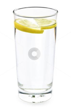 Glass of water with lemon stock photo, Full glass of water with lemon isolated on white background by Elena Elisseeva