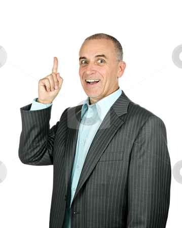 Businessman pointing up stock photo, Portrait of smiling pointing businessman isolated on white background by Elena Elisseeva