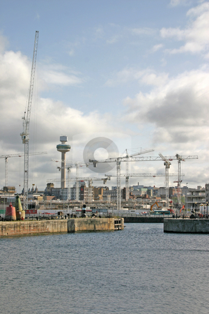 Liverpool Docks stock photo, Liverpool Dockland and Construction Cranes UK England by Chris Green