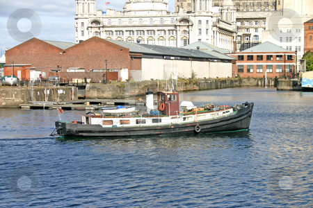 Liverpool Ship in Dock stock photo, Liverpool Ship Entering the Docks UK England by Chris Green