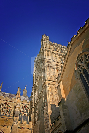 Exeter Cathedral in Summer stock photo, Exeter Cathedral Devon, England UK in Summer by Chris Green