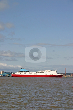 Cargo Ferry Ship on the River Mersey in Liverpool stock photo, Cargo Ferry Ship on the River Mersey in Liverpool England UK by Chris Green