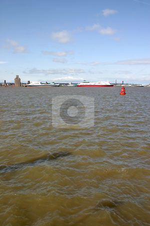 Cargo Ferry Ships on the River Mersey in Liverpool stock photo, Cargo Ferry Ships on the River Mersey in Liverpool England UK by Chris Green