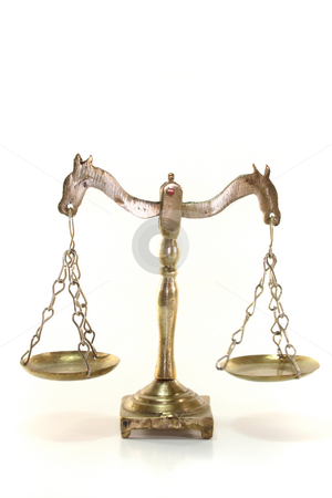 Scales stock photo, Scales with brass scales on a white background by Marén Wischnewski