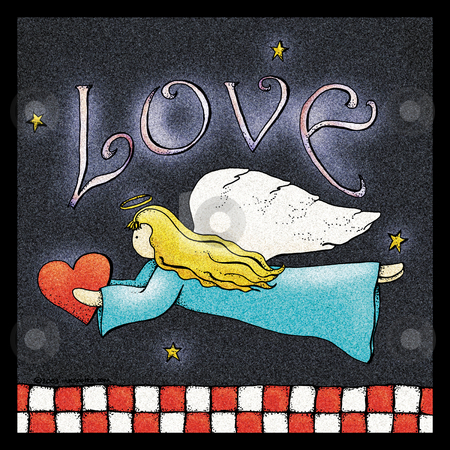 Angel of Love stock photo, A folk art style illustration of an angel holding a hear by Neeley Spotts