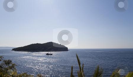 Lone Island stock photo, A single beautiful island of Dubrovnik, Croatia by Kevin Tietz