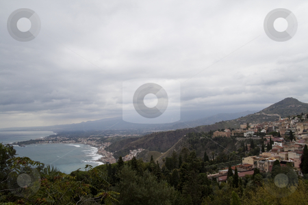 Hills of Messina stock photo, Looking over the overcast hills of Messina, Italy by Kevin Tietz
