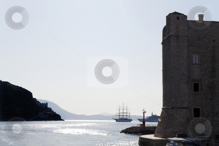 Dubrovnik Harbor stock photo, The harbor and its fort of Dubrovnik, Croatia by Kevin Tietz