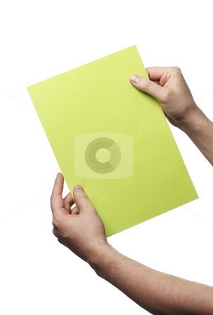 Green message stock photo, Man holding a green paper sheet by Stocksnapper