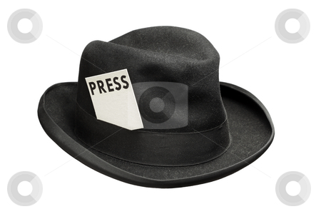 Meet the press stock photo, Old fedora felt hat with a press card by Stocksnapper