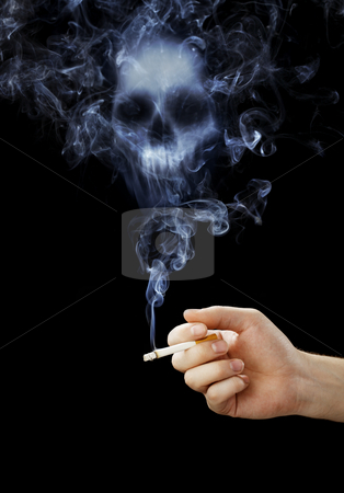 Smoking kills stock photo, Hand holding a cigarette with deadly smoke. by Stocksnapper
