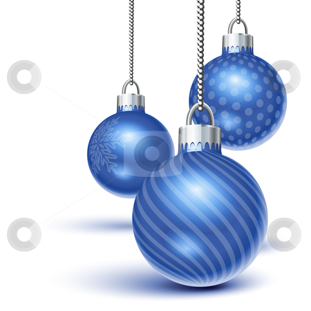 Blue christmas ornaments stock vector clipart, Blue christmas ornaments hanging over white by Laurent Renault