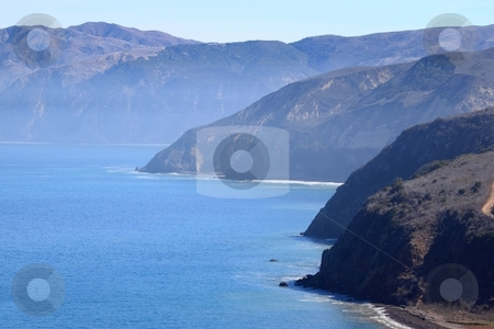 Santa cruz island stock photo, Santa Cruz Island of the cost from Ventura California by Henrik Lehnerer
