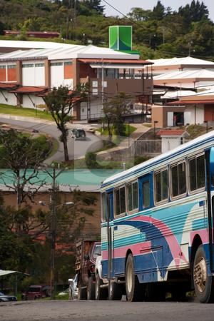 Santa Elena in Costa Rica stock photo, Buildings and a bus in Santa Elena Costa Rica by Scott Griessel