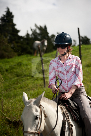 Equestrian Woman stock photo, Equestrian woman on horses ranch in Costa Rica by Scott Griessel