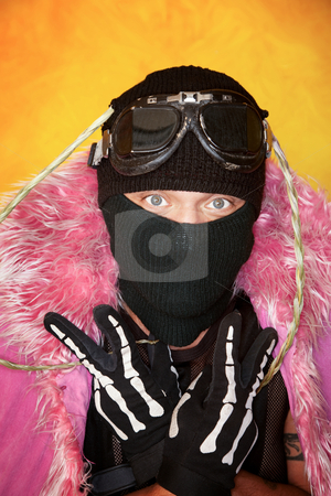 Oddly dressed man stock photo, Oddly dressed man flashing peace signs with gloved hands by Scott Griessel