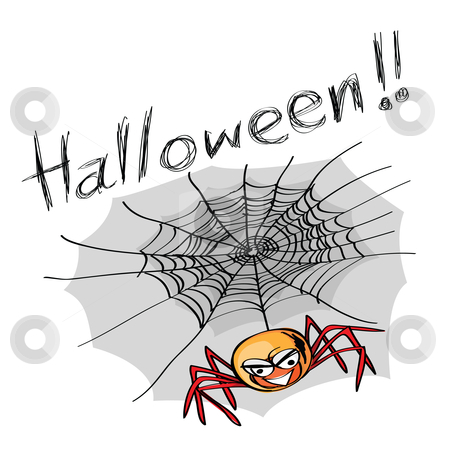 Halloween spider stock vector clipart, Hand-drawn halloween theme message - 5 of series. by Mtkang