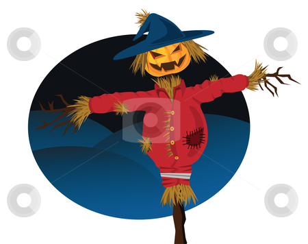 Halloween scarecrow stock vector clipart, Halloween scarecrow illustration, with evil grin. by Mtkang