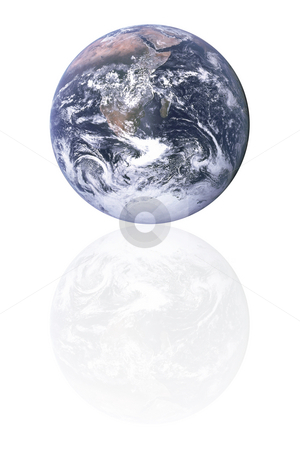 Planet earth with reflection stock photo, Planet earth with reflection isolated in white by Georgios Kollidas