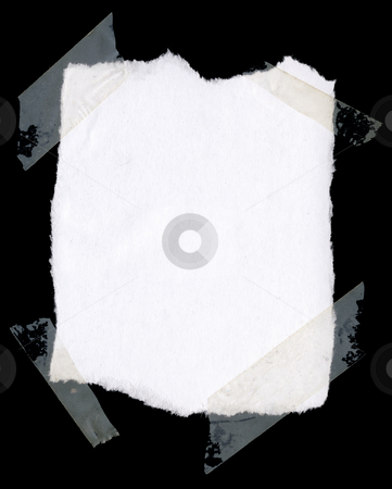Grunge frame stock photo, White paper taped on black background , nice grunge border for your images by GPimages