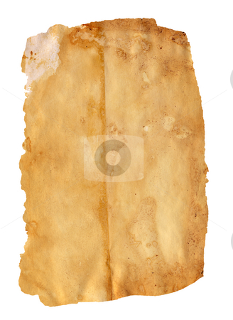 Aged paper stock photo, Highly detailed textured antique paper isolated on white , great grunge background for your projects with space for your text or image by GPimages