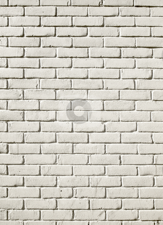 Old white painted brick wall background. stock photo, Old white painted brick wall background. by Stephen Rees