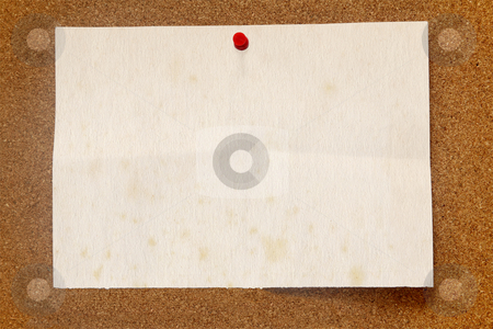 Old stained paper on a cork noticeboard. stock photo, Old stained paper on a cork noticeboard. by Stephen Rees