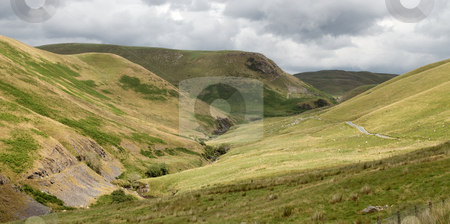 The Ystwyth stream and valley near Cwmystwyth, Wales UK. stock photo, The Ystwyth stream and valley near Cwmystwyth, Wales UK. by Stephen Rees