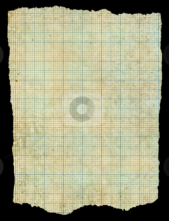 Old torn stained dirty graph paper isolated black background. stock photo, Old torn stained dirty graph paper isolated black background. by Stephen Rees