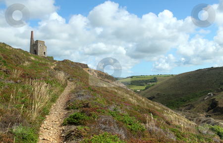 Path to Tywarnhayle tin mine engine house near Porthtowan, Cornwall UK. stock photo, Path to Tywarnhayle tin mine engine house near Porthtowan, Cornwall UK. by Stephen Rees