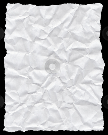 Crumpled torn white paper texture isolated on black. stock photo, Crumpled torn white paper texture isolated on black. by Stephen Rees
