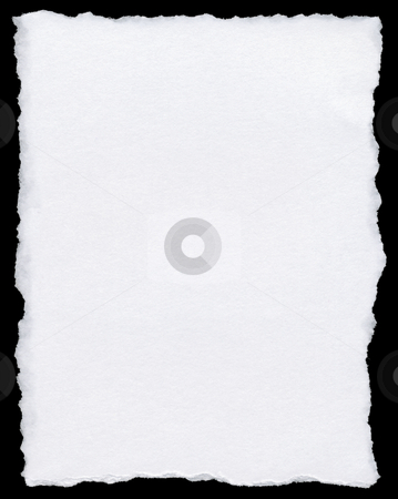 White torn paper page isolated on a black background. stock photo, White torn paper page isolated on a black background. by Stephen Rees