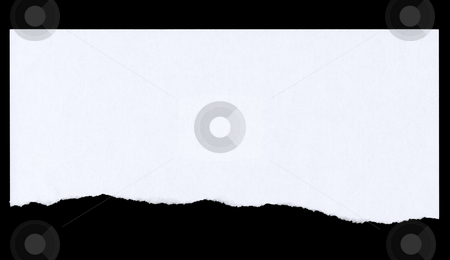 Top of paper page torn off and isolated on black. stock photo, Top of paper page torn off and isolated on black. by Stephen Rees