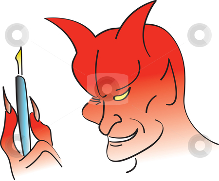 Deal With The Devil stock vector clipart, Devil holding a pen for someone getting ready to sell their soul. by Jamie Slavy