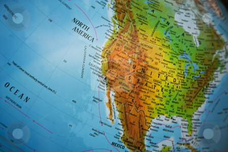 North America physical map stock photo, Physical map of North America and Mexico. Focus on Midwest and West Coast of U.S.A. by Gabriele Mesaglio