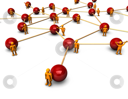Social Network stock photo, Abstractly rendering of the social network with funny orange persons, on the white background. by Alexander Limbach