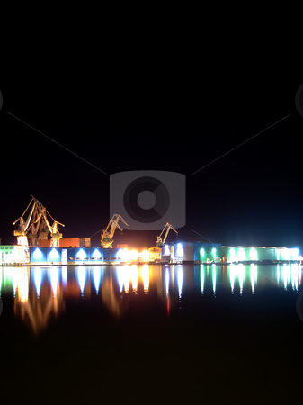Shipyard stock photo, Night photo of a shipyard by GPimages